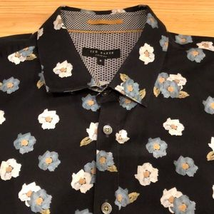 Ted Baker Short Sleeve Button Front Floral Shirt